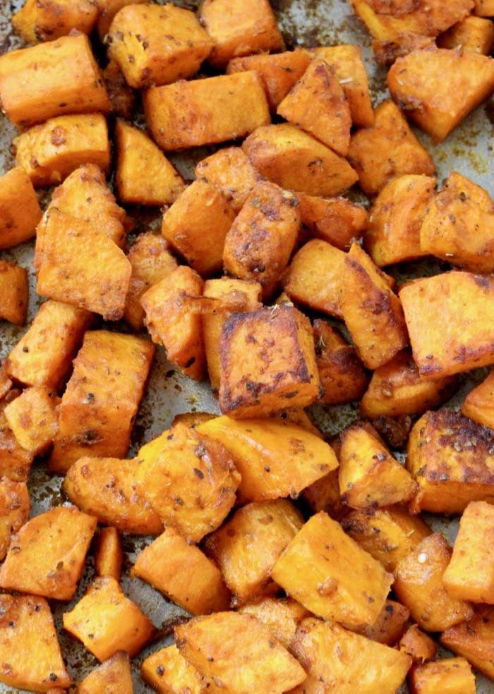 Oven Roasted Sweet Potato Cubes Recipe Veggie Society