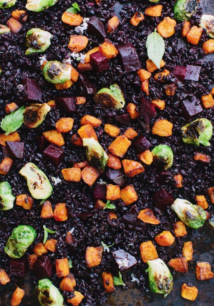 Roasted vegetable salad with orange lemon dressing