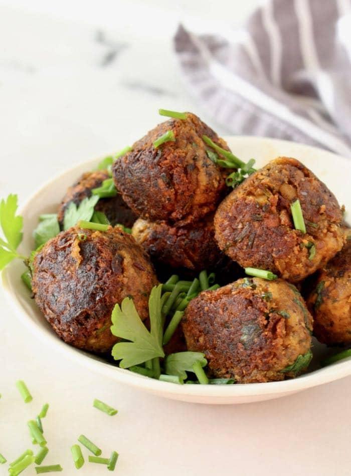 Vegan Mushroom Chickpea Meatballs Pan Seared in Cast Iron