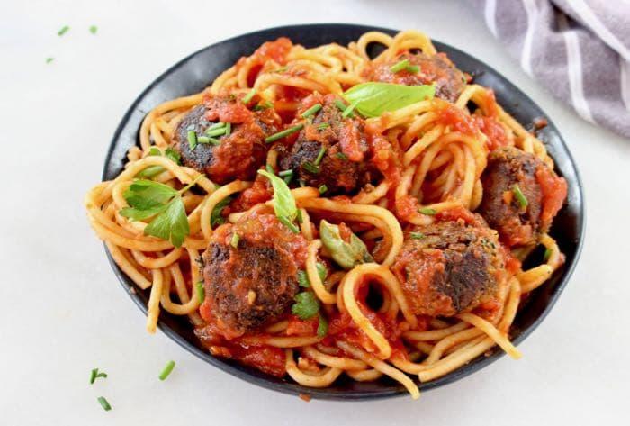 Vegan Mushroom Chickpea Meatballs in Tomato Sauce