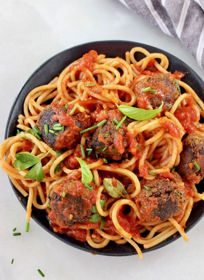 Vegan Mushroom Chickpea Meatballs with Tomato Sauce and Spaghetti