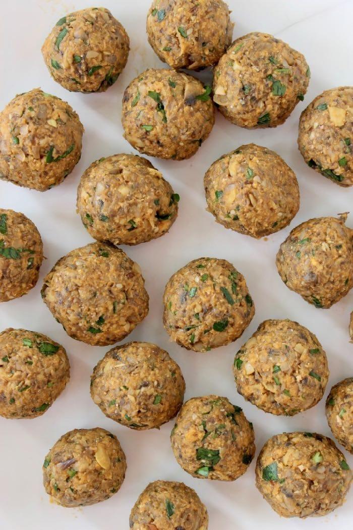 Vegan Mushroom Chickpea Meatballs