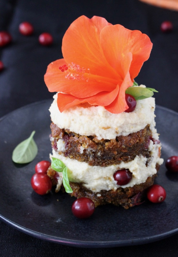 Mini Vegan Pumpkin Carrot Cake with Cranberries and Cashew Frosting