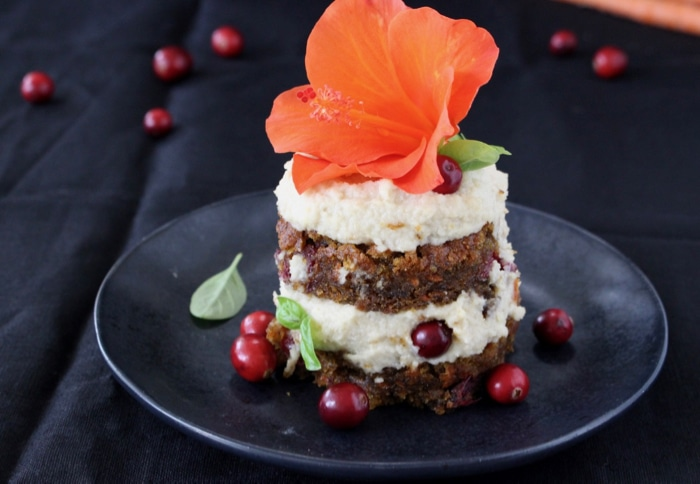 Vegan Pumpkin Carrot Cake with Cranberries and Cashew Frosting
