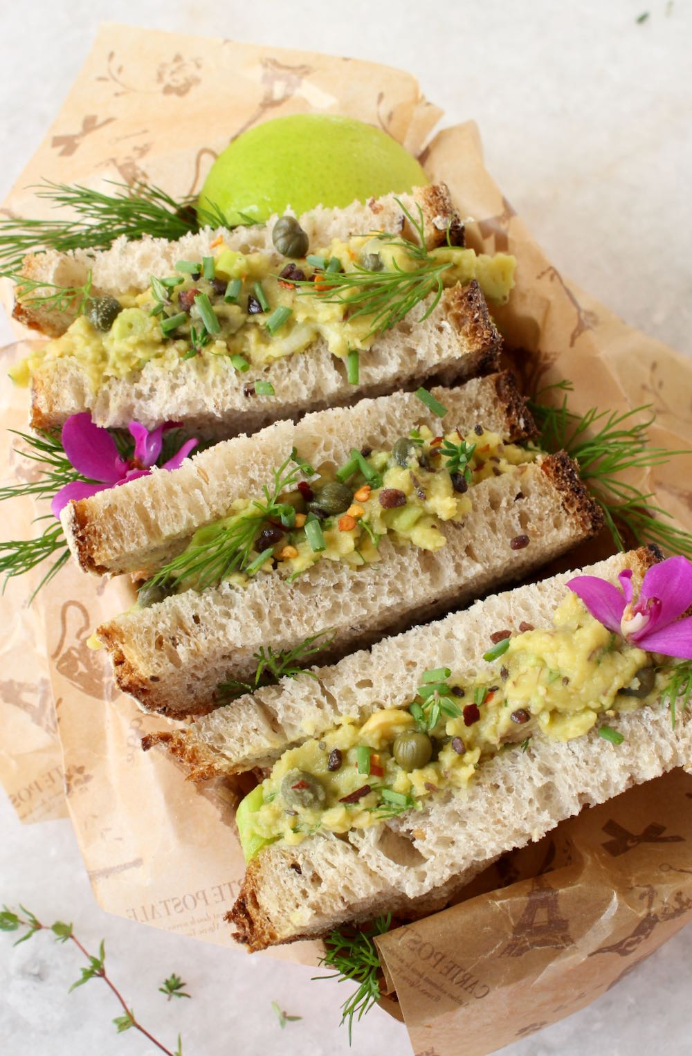 chickpea no tuna salad with capers and avocado