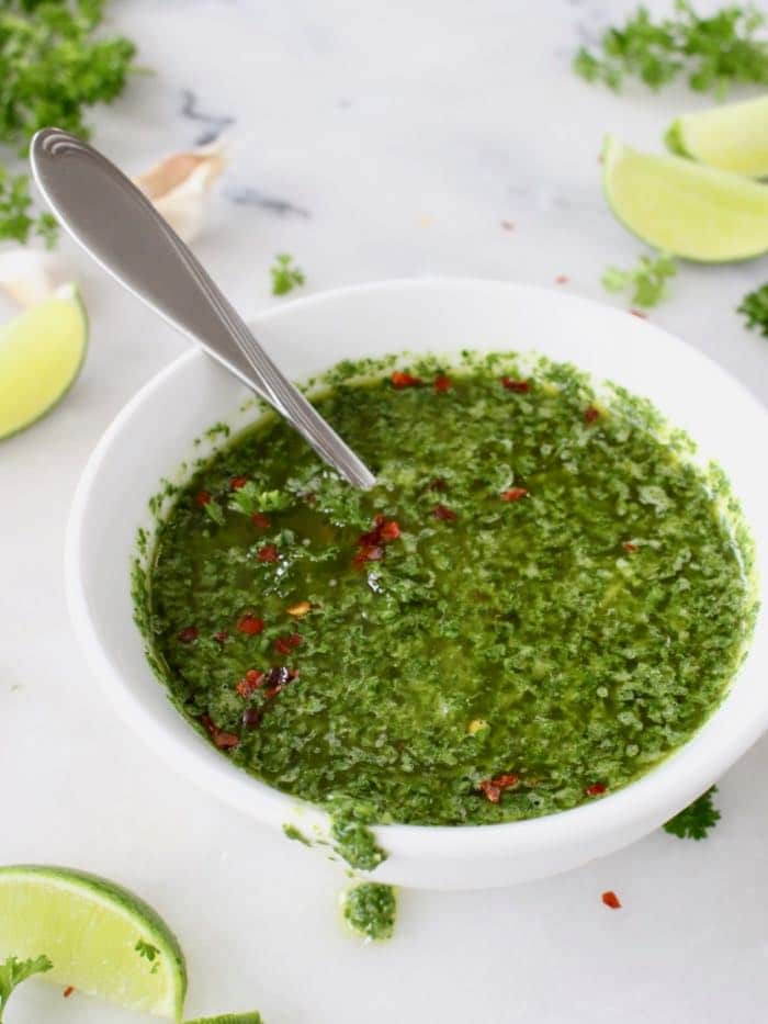 Easy Chimichurri Sauce Recipe with Parsley, Oregano, Garlic and Lime. Vegan, Paleo, Gluten Free.