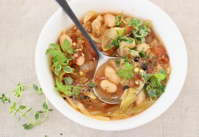 Healthy Vegan Cabbage and White Bean Soup Recipe