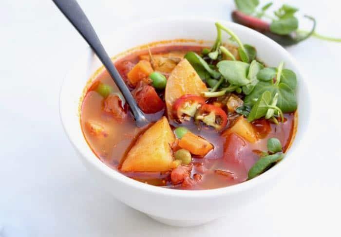 Healthy Chunky Vegan Potato Soup with Leeks and Green Peas