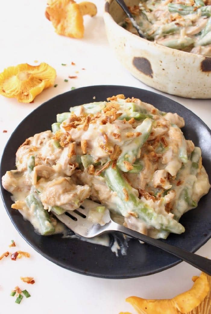 Creamy Vegan Green Bean Casserole with Chanterelle Mushroom Gravy and Crispy Onions