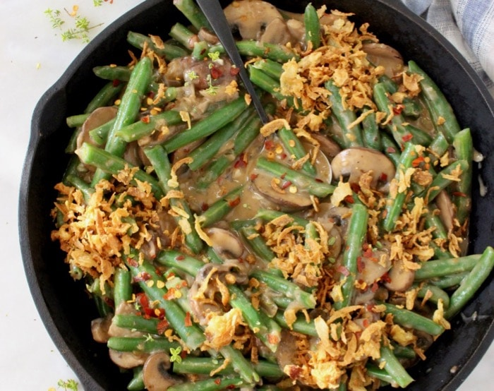 Easy Vegan Green Bean Casserole with Mushroom Gravy and Crispy Onions