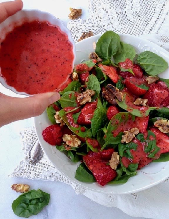 Spinach Strawberry Walnut Salad with Homemade Lemon Poppyseed Dressing