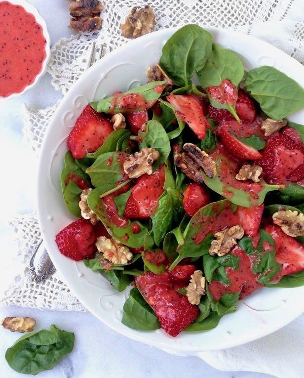 Spinach Strawberry Walnut Salad with Lemon Poppyseed Dressing