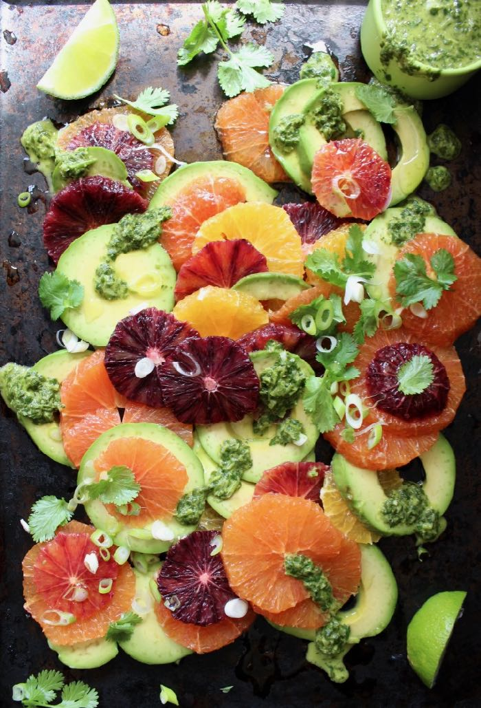 Blood Orange Avocado Salad with Scallion Cilantro Lime Dressing on Serving Platter