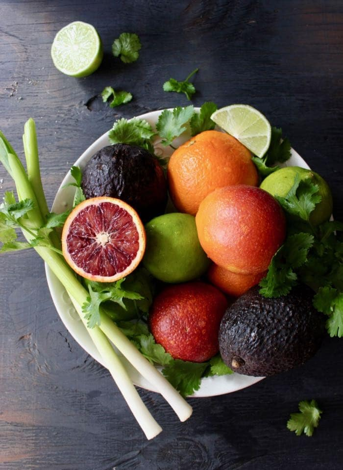 Blood Oranges, Avocados and Lime in Serving Bowl