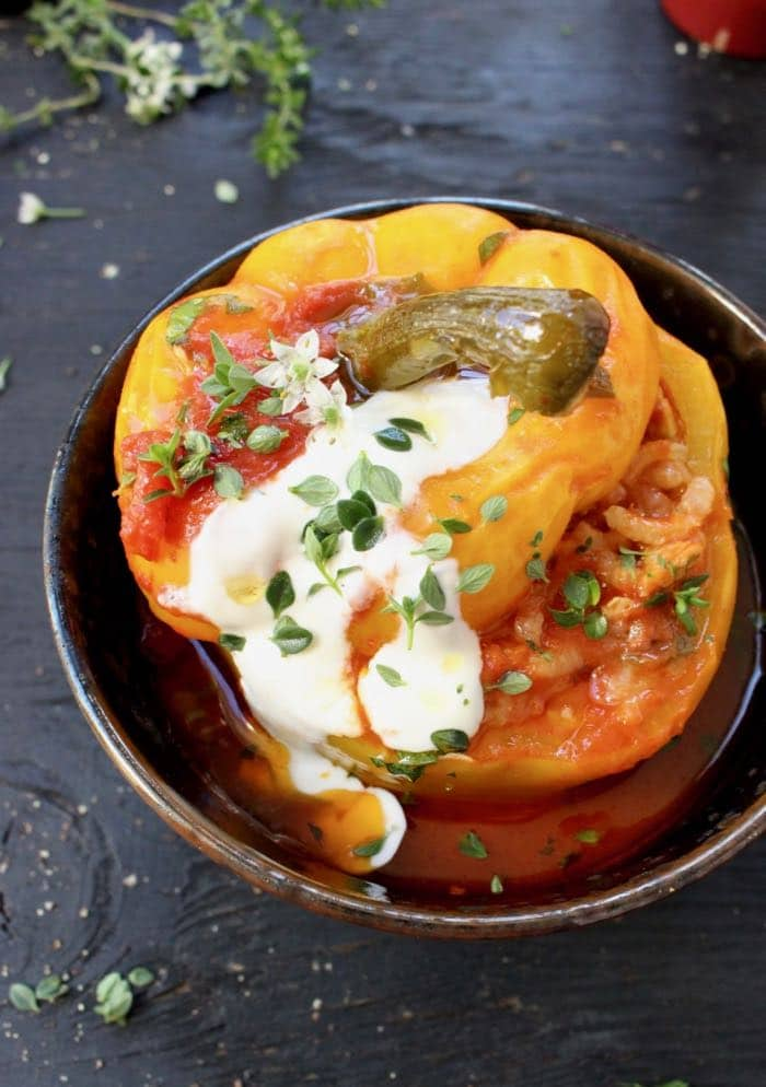 Vegan Stuffed Bell Peppers with Brown Rice and Mushrooms