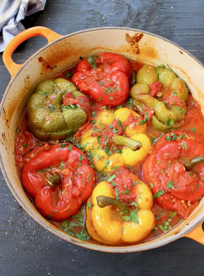 Vegan Stuffed Bell Peppers with Brown Rice and Mushrooms, Plant-Based
