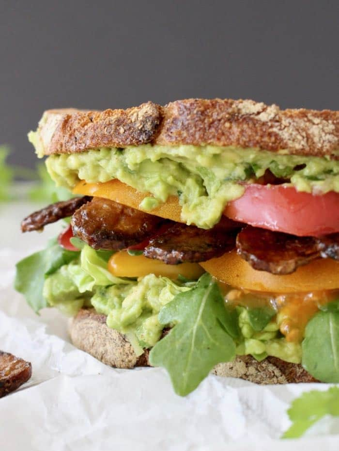 Avocado Tempeh Sandwich with Heirloom Tomatoes and Lettuce ~ TLT