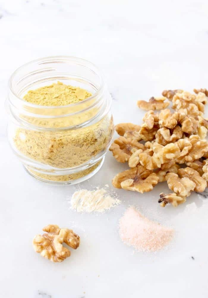 Vegan Parmesan Cheese Ingredients: Walnuts, Nutritional Yeast, Sea Salt and Garlic Powder