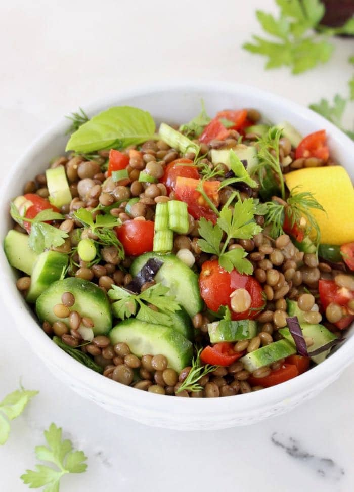 Vegan Lentil Salad with Tomatoes, Cucumber and aLemon Dressing.