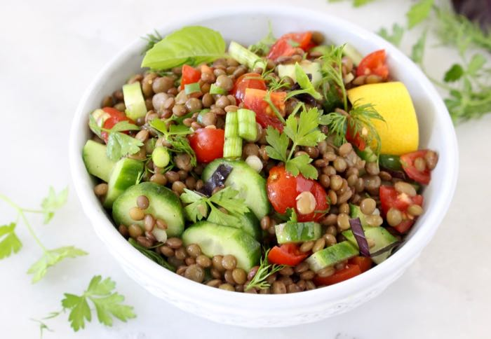 Cucumber Tomato Lentil Salad with Lemon, Basil and Dill