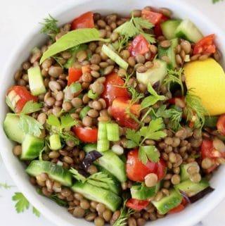 Cucumber Tomato Lentil Salad (Vegan)