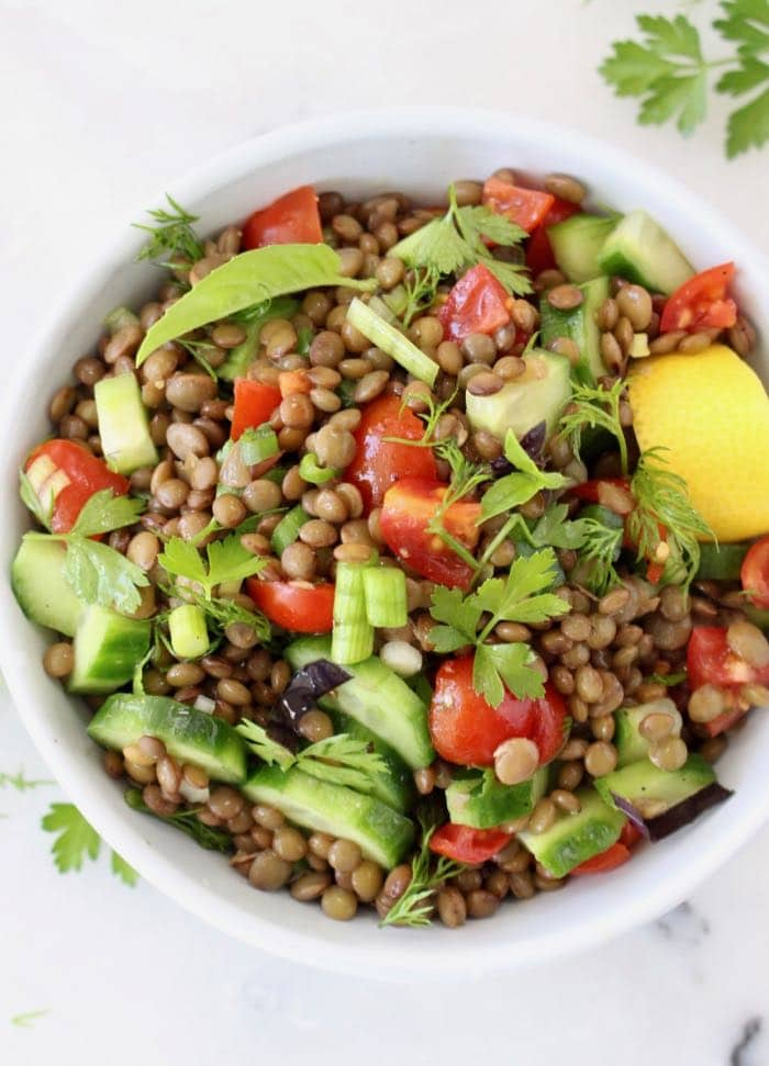 Cucumber Tomato Lentil Salad with Lemon Dressing, Basil and Dill