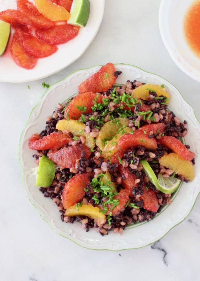 Farro Black Rice Salad with Citrus Vinaigrette and Blood Oranges - Vegan