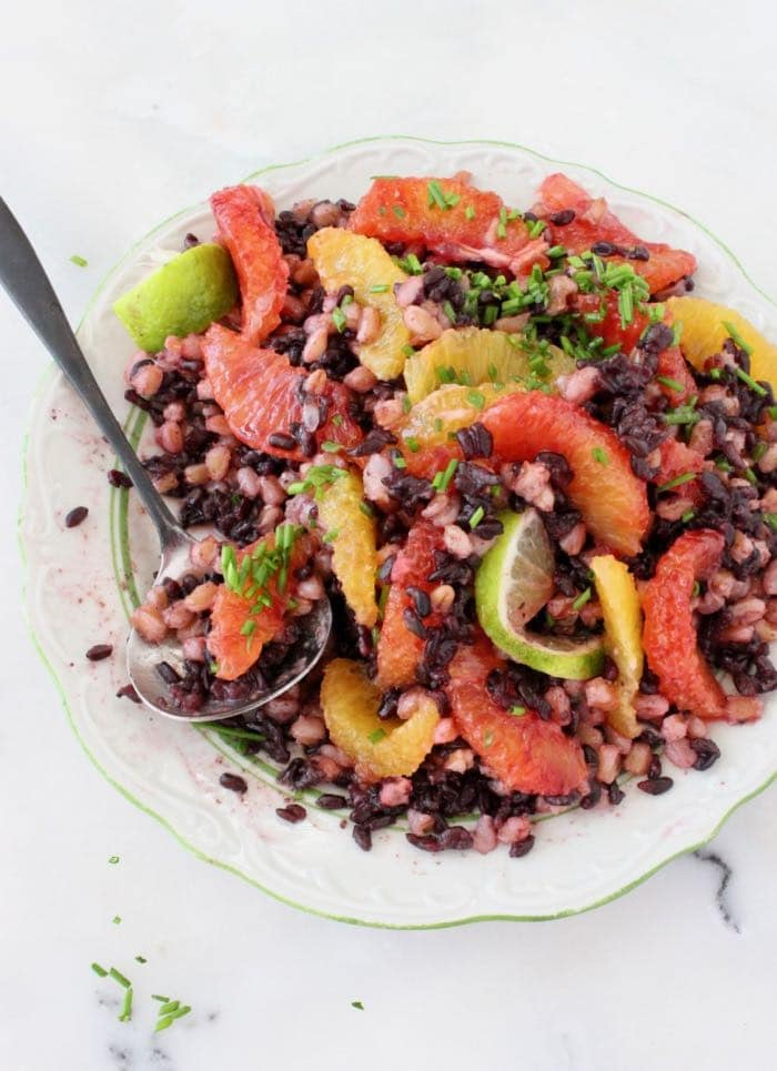 Italian Farro and Black Rice Salad with Citrus Vinaigrette - Vegan