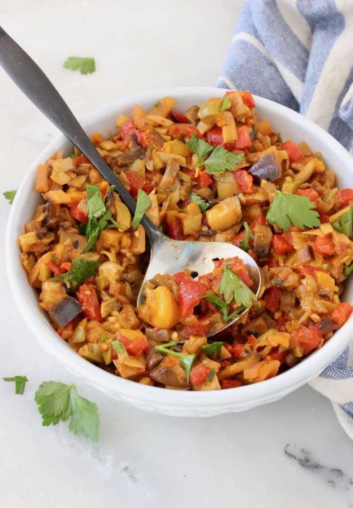 Italian La Bomba Sauce Recipe with Artichoke Hearts, Roasted Peppers and Eggplant