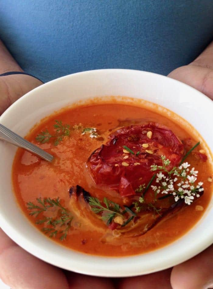 Oven Roasted Tomato Soup with Garlic, Onions and Herbs