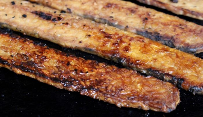 Smoked Tempeh Strips in Cast Iron Skillet - Vegan Bacon