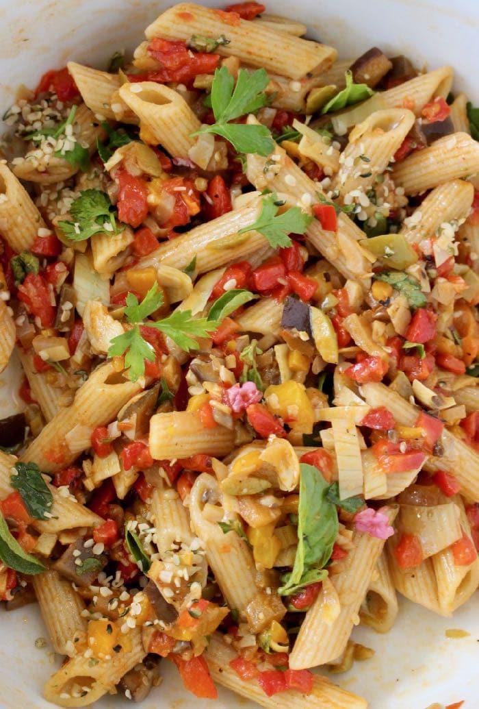 Vegan Italian Pasta Salad with Veggie La Bomba Sauce