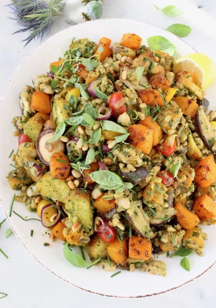 Vegan Thanksgiving Dressing Italian Style with Mushrooms, Pesto and Roasted Butternut Squash