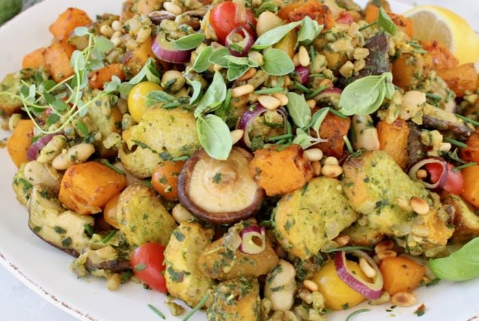 Best Vegan Thanksgiving Dressing  Recipe with Pesto, Mushrooms and Roasted Butternut Squash