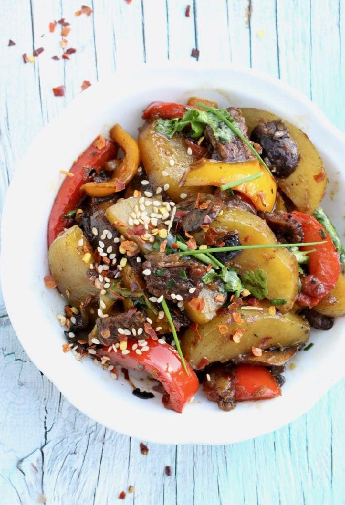 Healthy Veggie Stir Fry Recipe with Ginger, Garlic, Peppers, Mushrooms, Potatoes and Coco Aminos.