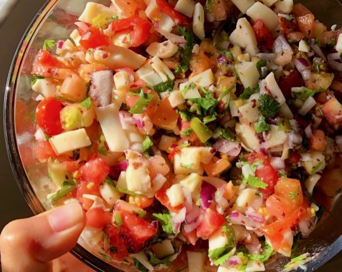 Vegan Hearts of Palms Ceviche with Lime, Tomato, Onion and Cilantro