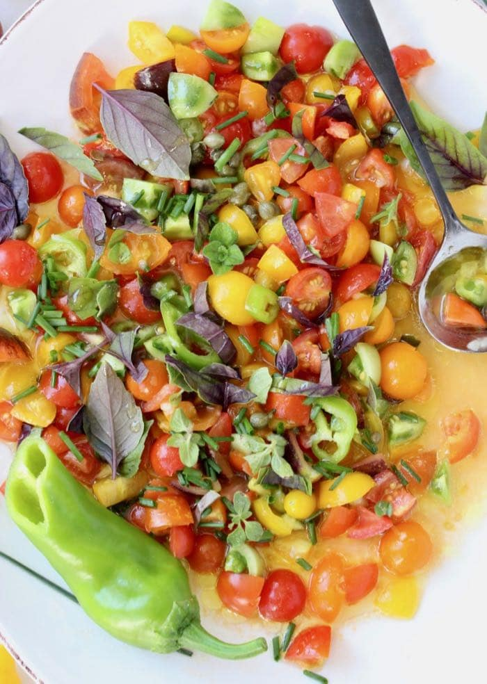 Italian Tomato Salsa with Garlic, Capers and Basil
