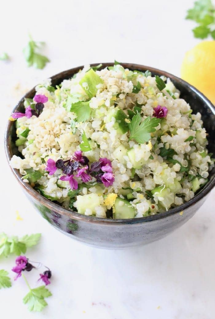 Vegan Lemon Quinoa Cucumber Salad with Hemp and Parsley.