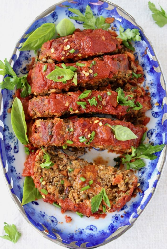 Vegan Mushroom Lentil Loaf Recipe with Veggies and Italian Tomato Sauce