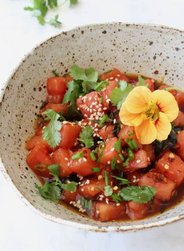 Watermelon Vegan Poke Bowls with Dressing and Sea Vegetables.