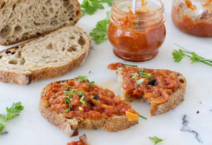 Roasted Vegetable Spread with Eggplant, Peppers and Tomatoes.