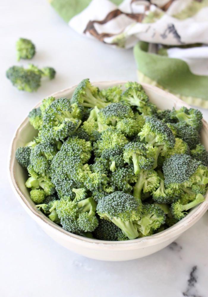 Broccoli florets for roasting.