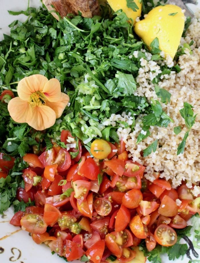 Tabouli Bulgur Wheat Salad Ingredients.