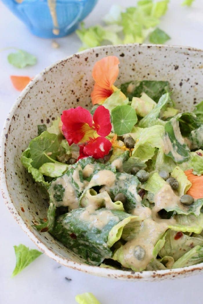 The Best Vegan Caesar Dressing Recipe with Tahini, Garlic, Lemon and Capers.