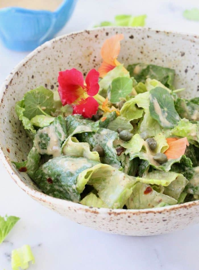 Best Vegan Caesar Salad Dressing Recipe with Tahini, Garlic, Lemon, Capers.