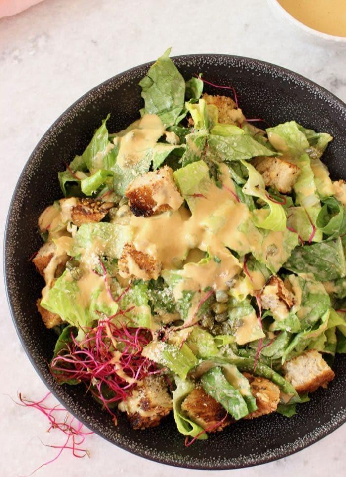creamy vegan caesar salad dressing recipe