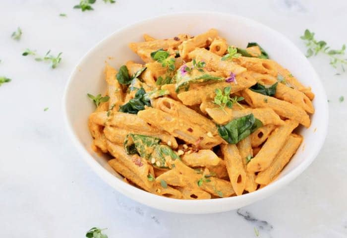 Creamy Vegan Roasted Red Pepper Pasta Sauce with Spinach and Herbs
