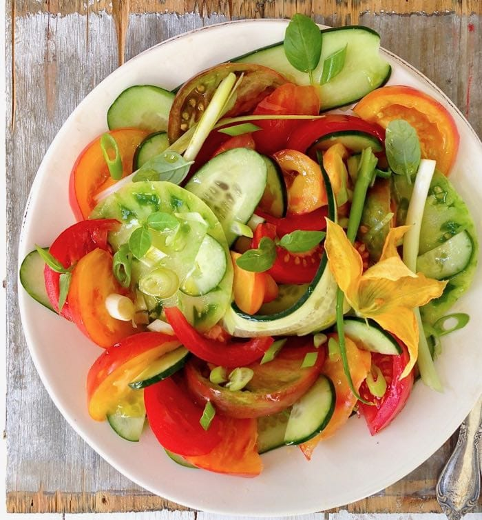 Cucumber Tomato Onion Salad Recipe with Red Wine Vinegar Dressing.