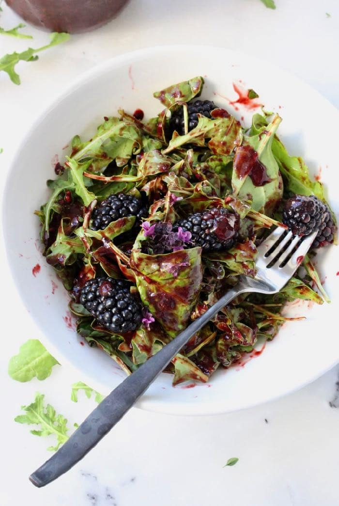 Italian blackberry balsamic vinaigrette recipe, with arugula and spinach, oil-free vegan wfpb