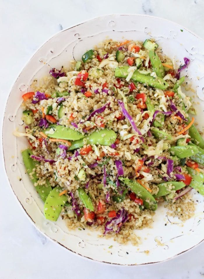 Asian quinoa salad recipe with coco aminos dressing. WFPB Vegan.